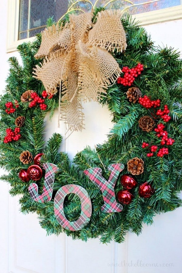 DIY JOY Christmas Wreath
