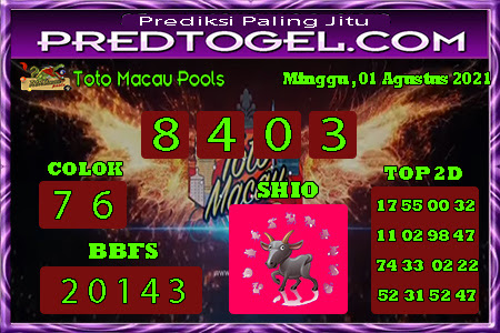 Pred Macau Minggu 01 Agustus 2021