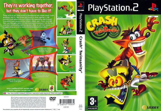 Descargar Crash Bandicoot 5: Twinsanity NTSC-PAL ps2 iso: oficialmente abreviado como Crash Twinsanity en Norteamérica y en Japòn Crash Bandicoot 5: Crash y Neo Cortex. Es un videojuego desarrollado para las videoconsolas PlayStation 2 y Xbox, protagonizado por Crash, un marsupial evolucionado por el Doctor Neo Cortex, por el propio Cortex y por su sobrina Nina. El juego fue lanzado entre los años 2004 y 2005.