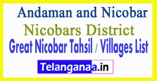 Great Nicobar Tahsil Villages Codes Nicobars District Andaman and Nicobar Islands State