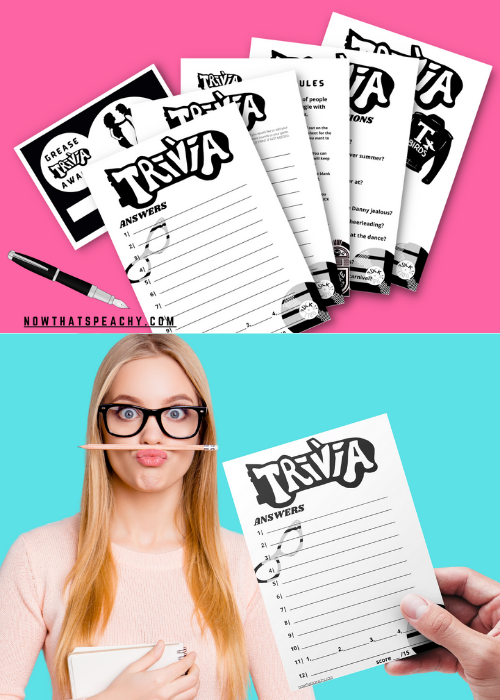 Grease Movie Trivia Party Game Printable