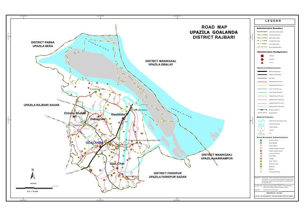 Goalanda Upazila Road Map Rajbari District Bangladesh