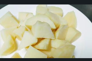 Cubes size pieces of potatoes for jeera aloo recipe