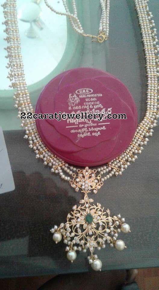 Small Pearls Long Set with Diamond Locket