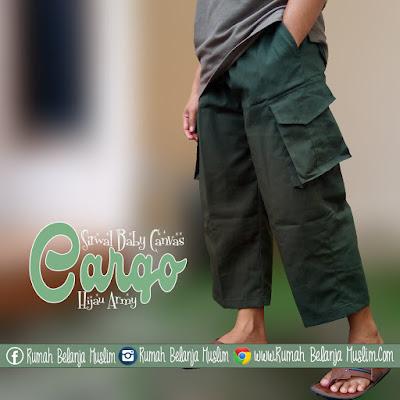 Celana Sirwal Cargo Hijau Army