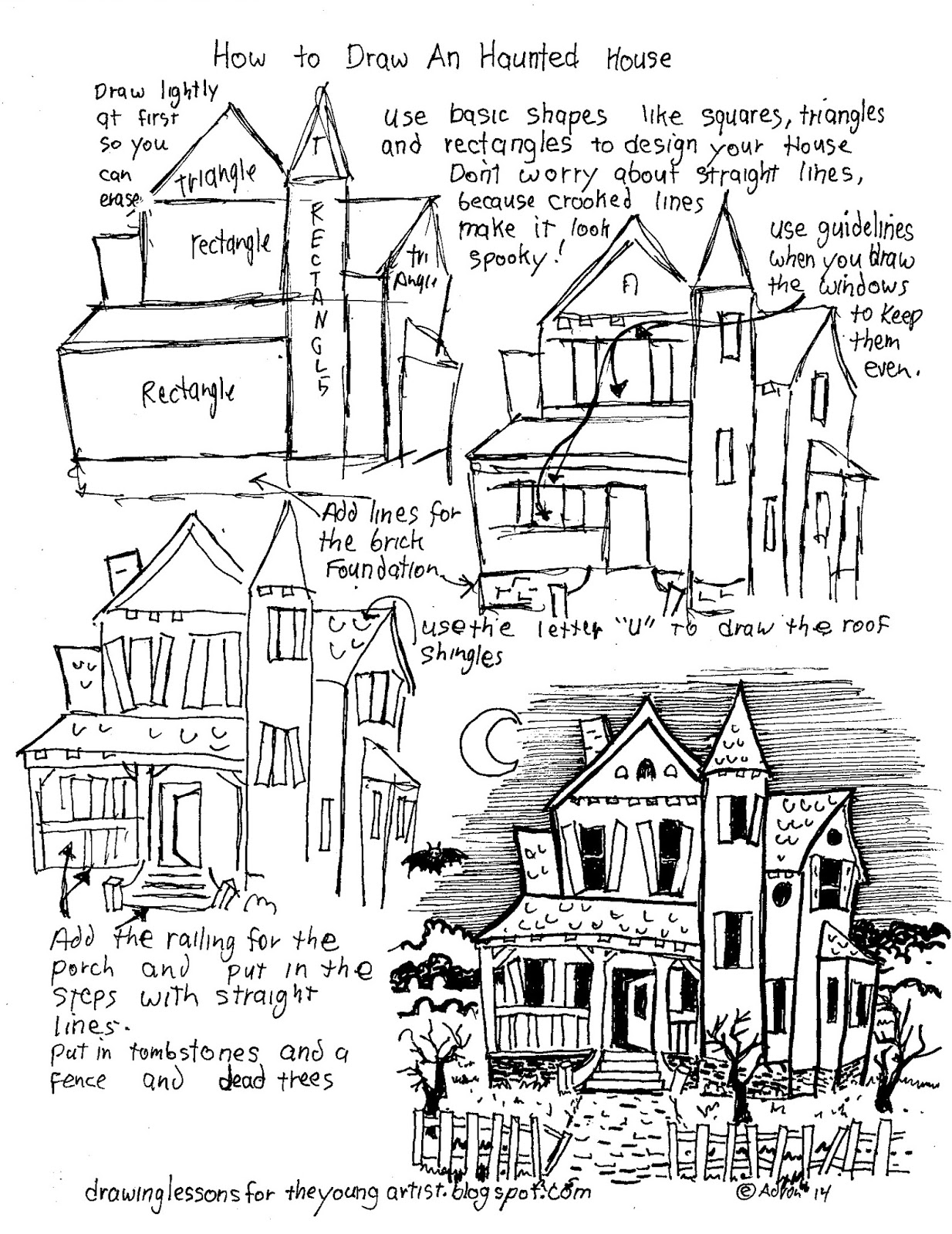 How to draw worksheets for the young artist how to draw a haunted printable how to draw a haunted house worksheet robcynllc Choice Image