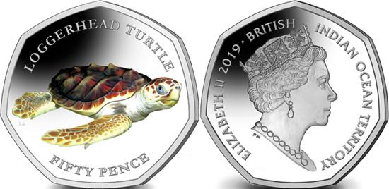 British Indian Ocean Territory 50 pence 2019 Loggerhead turtle