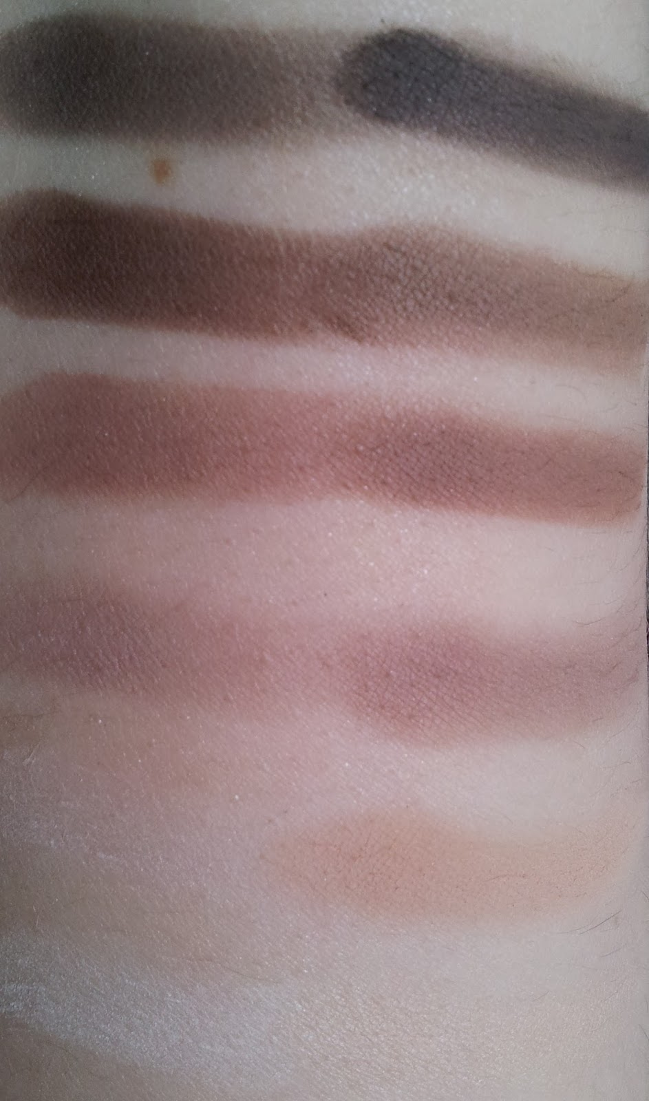 Swatches Vergleich Urban Decay Naked2 basics palette vs. der Catrice Absolute matt