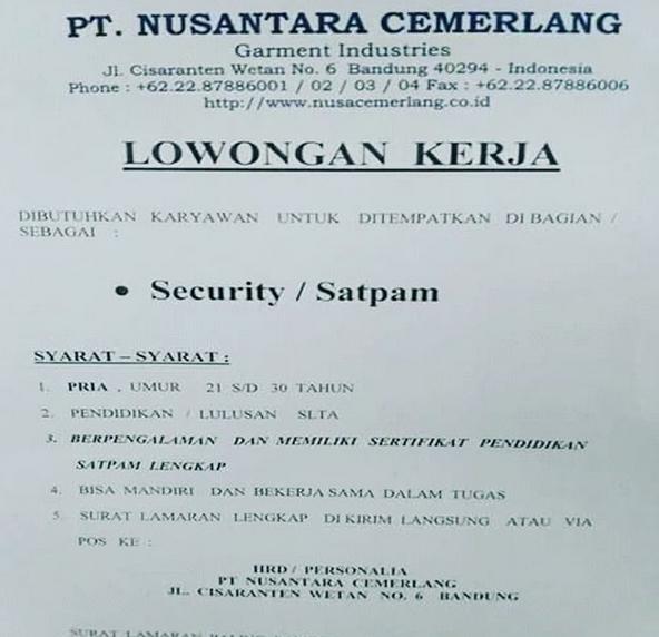 Lowongan Kerja Pt Nusantara Cemerlang Bandung Jl Cisaranten
