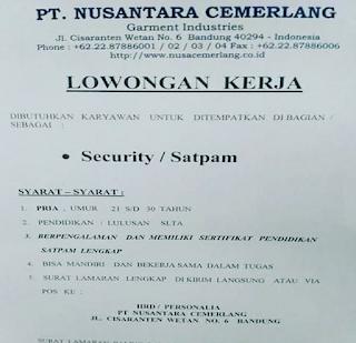 Lowongan Kerja PT Nusantara Cemerlang Bandung 2019 Sebagai Security Satpam