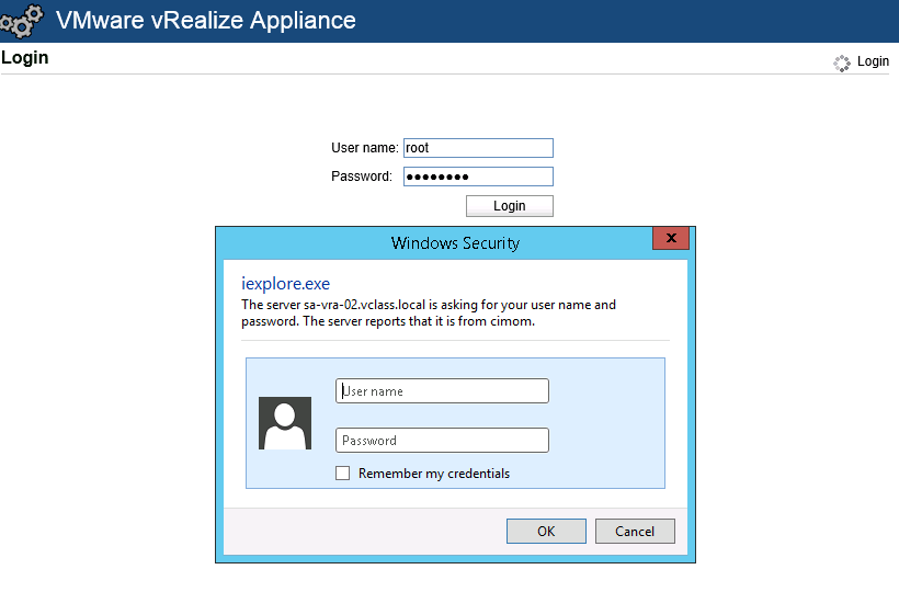 Virtualization The Future: Unable to Authenticate root user in vRA