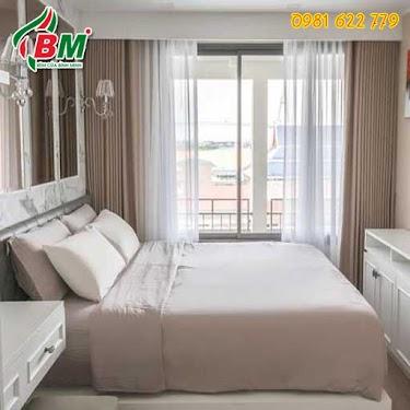 Rèm phòng ngủ 2 lớp màu kem sang trọng hiện đại,công trình tại tp.hcm..thiết kế bởi rèm bình minh. 0981.622.779