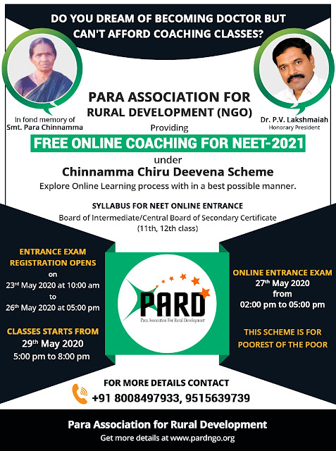 Para Association for Rural Development (PARD) Providing Free Online Coaching for NEET -2021 /2020/05/PARD-Providing-Free-Online-Coaching-for-NEET-2021.html