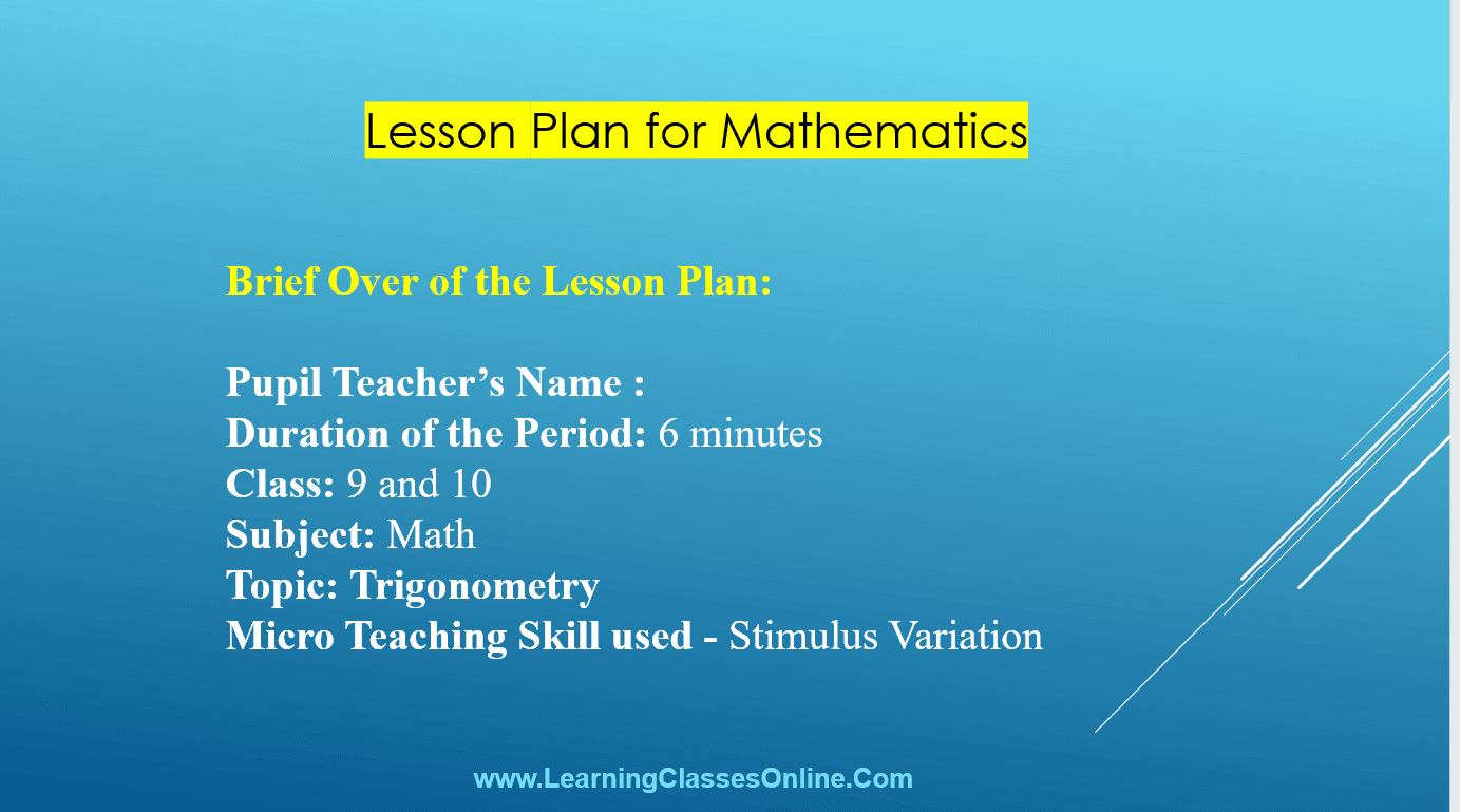 Mathematics Lesson Plan PPT And PDF For B.Ed