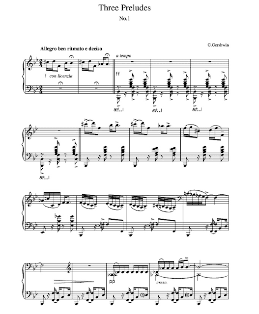 Partitur (Notation Music) Three Preludes By George Gershwin Solo Piano