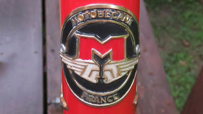 Red and Black Bicycle Headbadge Closeup