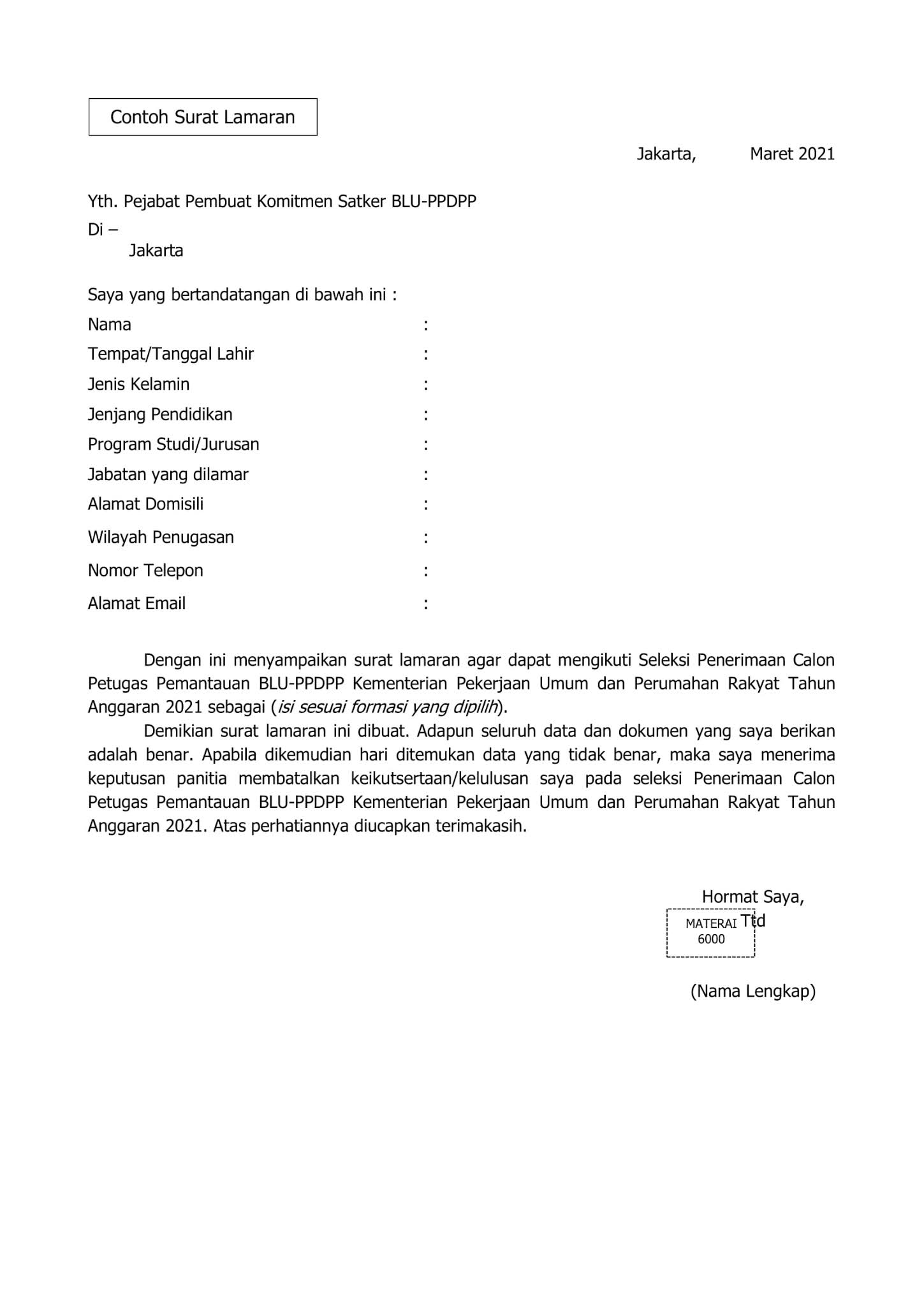 PPDPP Kementerian Pekerjaan Umum dan Perumahan Rakyat Tingkat SMA SMK D3 Maret 2021