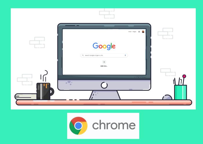 Gambar monitor dengan layar Chrome
