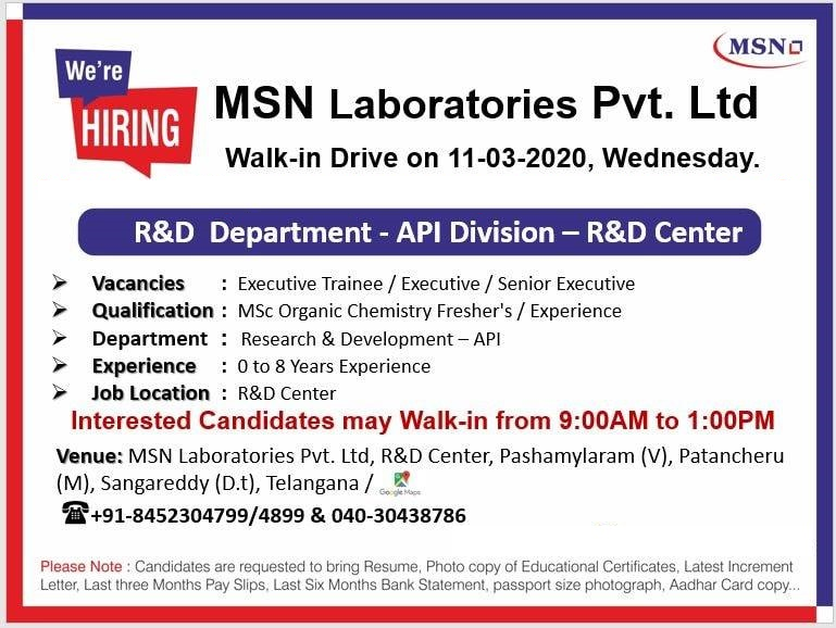 MSN Laboratories Pvt. Ltd - Walk-In Drive for Freshers & Experience Candidates on 11th Mar' 2020