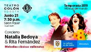 Concierto de RITA FERNÁNDEZ y NATALIA BEDOYA en Teatro Colon