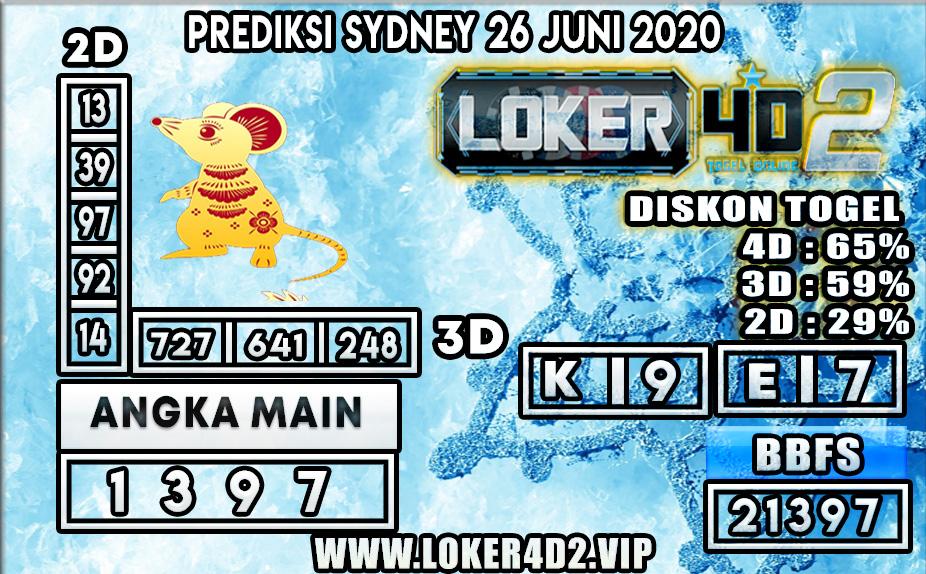 PREDIKSI TOGEL SYDNEY LOKER4D2 26 JUNI 2020