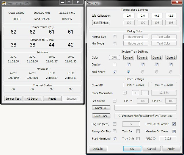 Real Temp - Programma per monitorare la temperatura della CPU