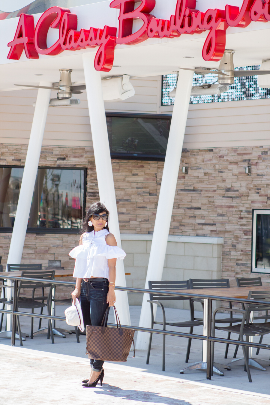 ruffles, statement blouse, statement top, zara, prada, express, express life, large tote, mommy bag, studded pumps, fedora, statement earrings, spring style, white top