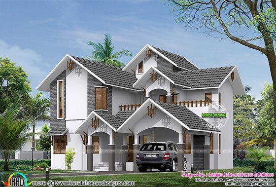 Sloped Roof 2900 Square Feet 4 Bedroom Home Kerala Home
