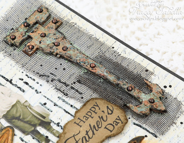 Vintage Mixed Media Father's Day Card by Tracey Sabella for Scrap & Craft featuring the Studio75 Cherry Blossom Collection:#studio75  #fathersday #fathersdaycard #fathersdaycards #mixedmedia #mixedmediacard #masculinecard #masculinecards #finnabair #finnabairproducts  #primamarketing #primamarketinginc #handmadecards #handmadecard #vintagecard #vintagecards  #steampunkcard #steampunkcards