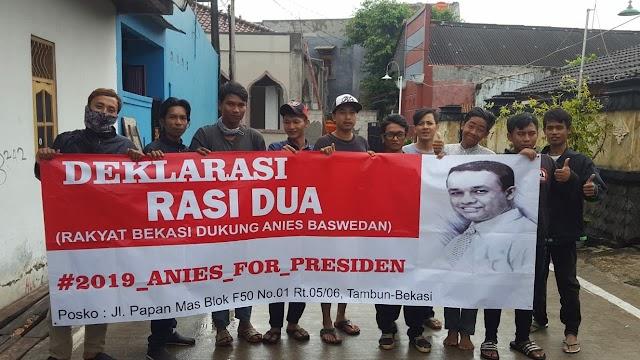 Lagi, Puluhan Pemuda di Bekasi Deklarasikan Dukungan Kepada Anies Baswedan.