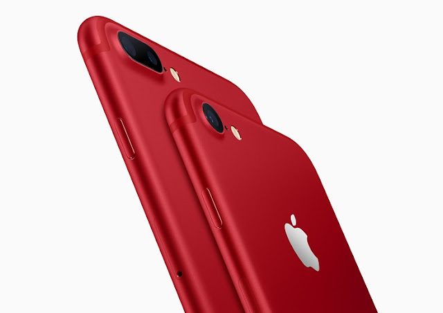 Apple today announced iPhone 7 and iPhone 7 Plus (PRODUCT)RED Special Edition in a vibrant red aluminum finish. to recognise the 10-year partnership between Apple and (RED).