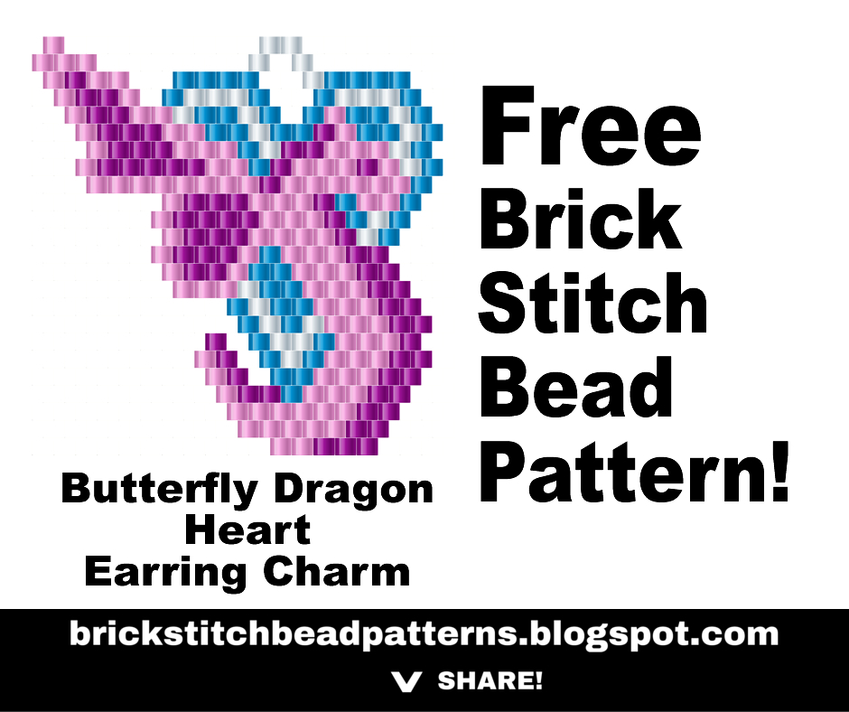Brick Stitch Bead Patterns Journal: Butterfly Dragon Heart Brick