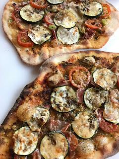 sourdough pizzas, home baked