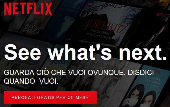 Netflix pulsante Abbonati gratis per un mese