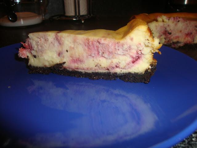 Slice Of Raspberry White Chocolate Cheesecake
