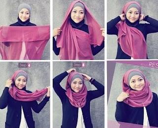 Cara memakai jilbab segi empat sederhana tapi modis
