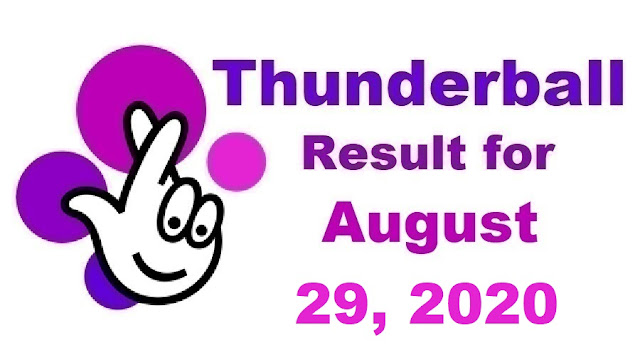 Thunderball Results for Saturday, August 29, 2020