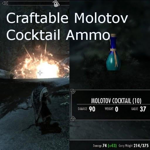 My Skyrim Mods: Craftable Molotov Cocktail Ammo Mod
