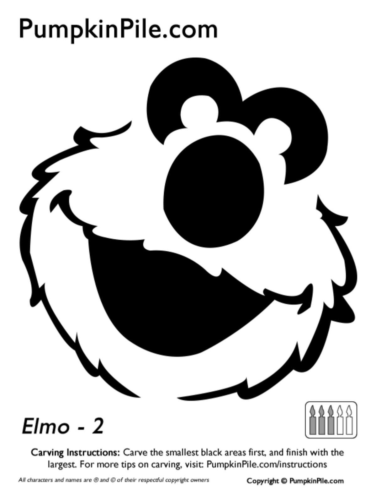 Easy elmo face pumpkin carving stencil template free for Elmo pumpkin template