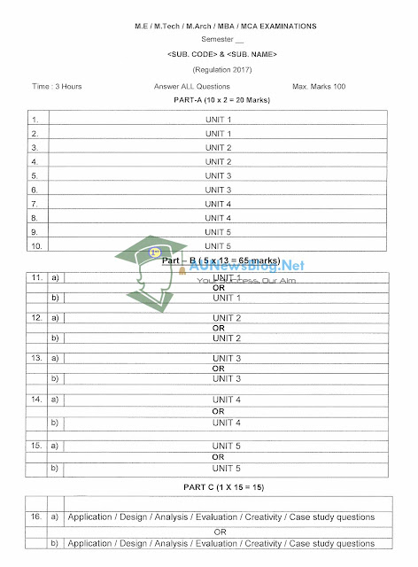 Anna University New Question paper pattern for Regulation 2017