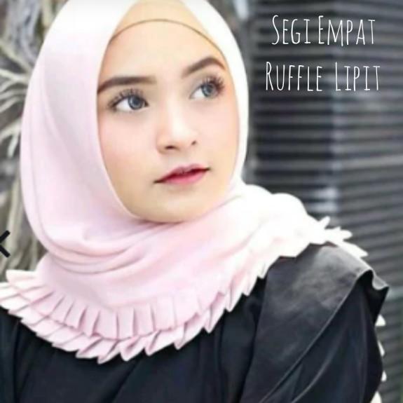 Jilbab Segi Empat Terbaru Rempel Lipit Grigi