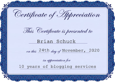Certificate of appreciation, 10 years of blogging