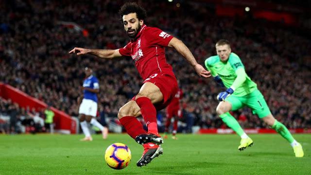 Liverpool's Mohamed Salah against  Everton