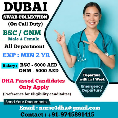 Urgently Required Staff Nurses for Dubai Swab Collection Duty (On Call Duty)