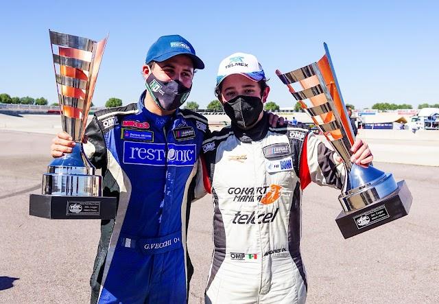 GIANCARLO VECCHI Y ANDRÉS PEREZ DE LARA   2° Y 3° LUGAR EN NASCAR AGUASCALIENTES