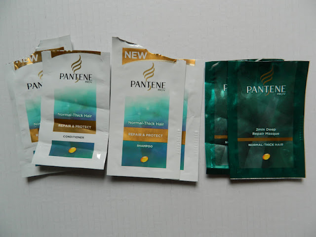 Pantene Pro-V Shampoo, Conditioner & 2 min Repair Masque samples, normal-thick hair.