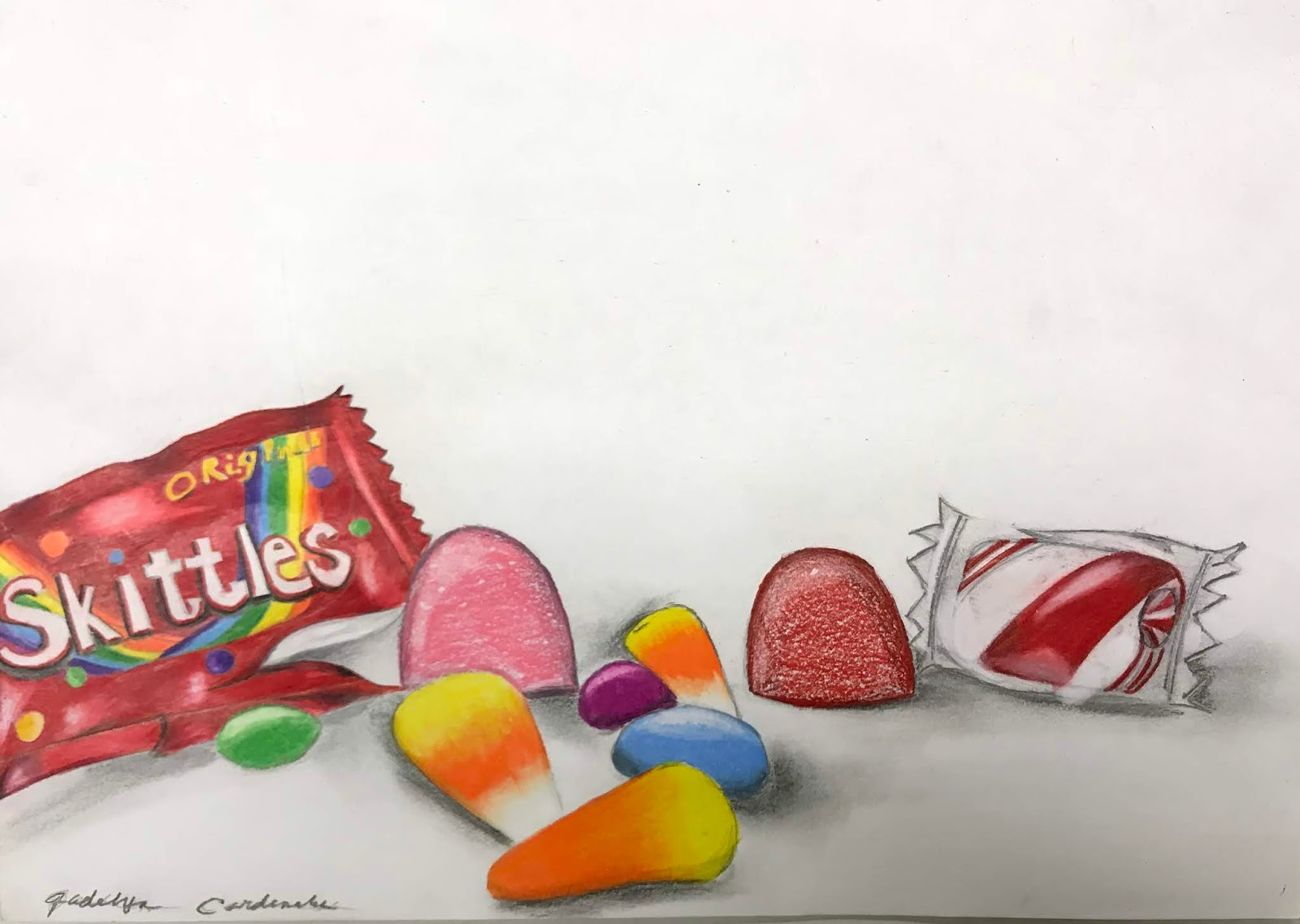 The Helpful Art Teacher Candy Still Life Prismacolor Colored Pencils And Denatured Alcohol