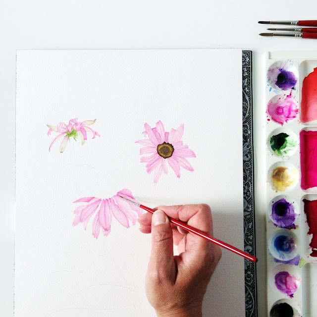 watercolor, botanical watercolor, painting process, Anne Butera, My Giant Strawberry