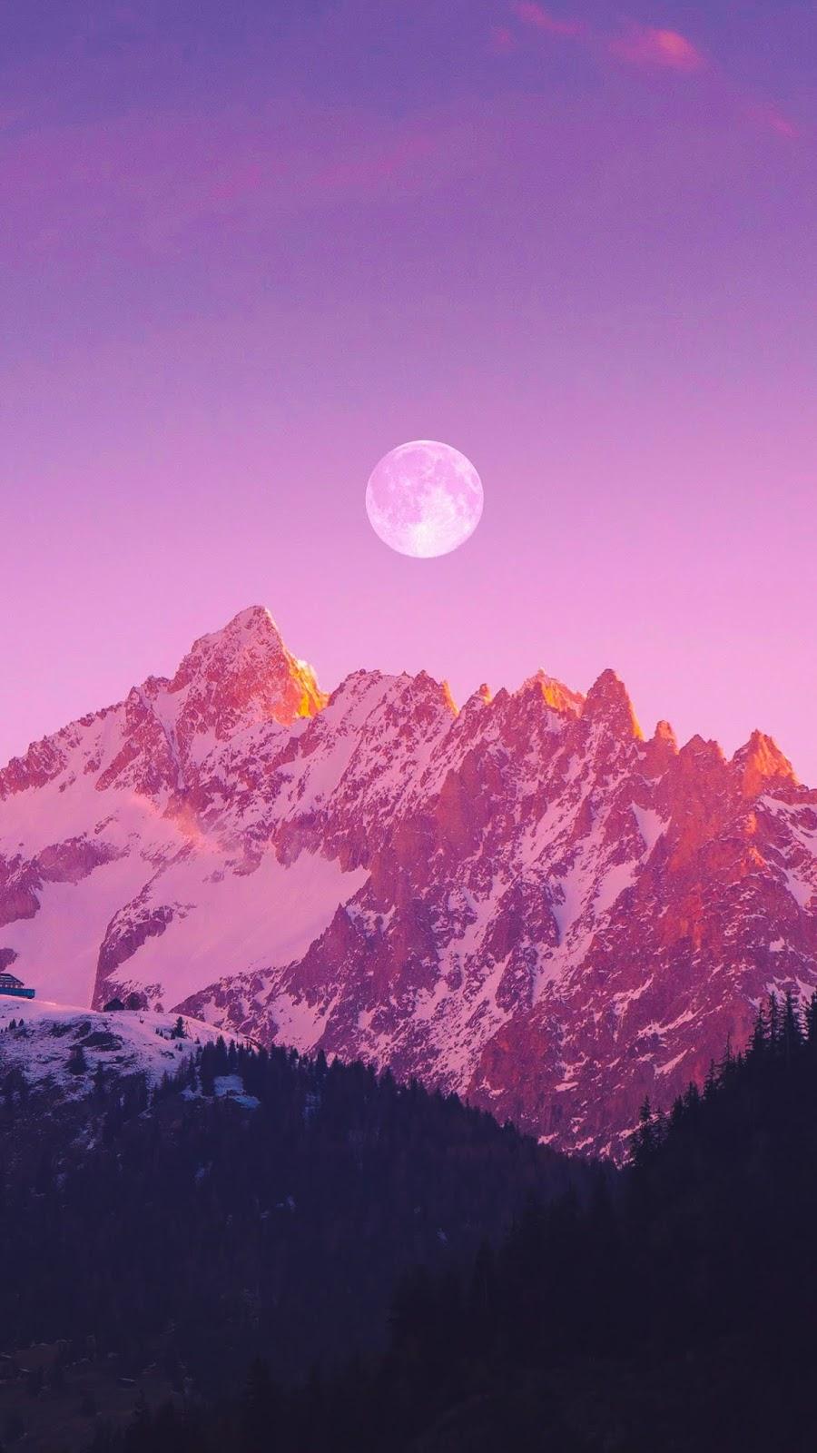 Full moon in the twilight sky