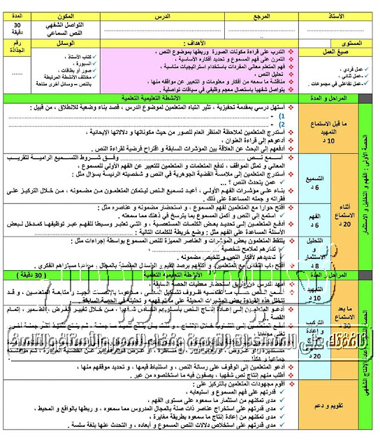 جذاذات نمطية لجميع مكونات اللغة العربية للمستوى الخامس والسادس وفق مستجدات 2020